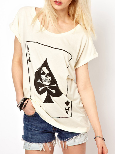 Skeleton Print T-shirt Cheap clothes, free shipping worldwide