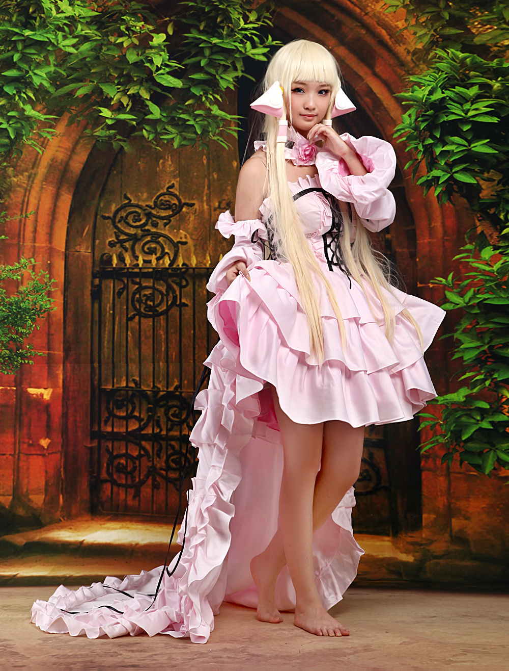 Chobits Chii Halloween Cosplay Costume Pink Cute Lolita Dress Halloween