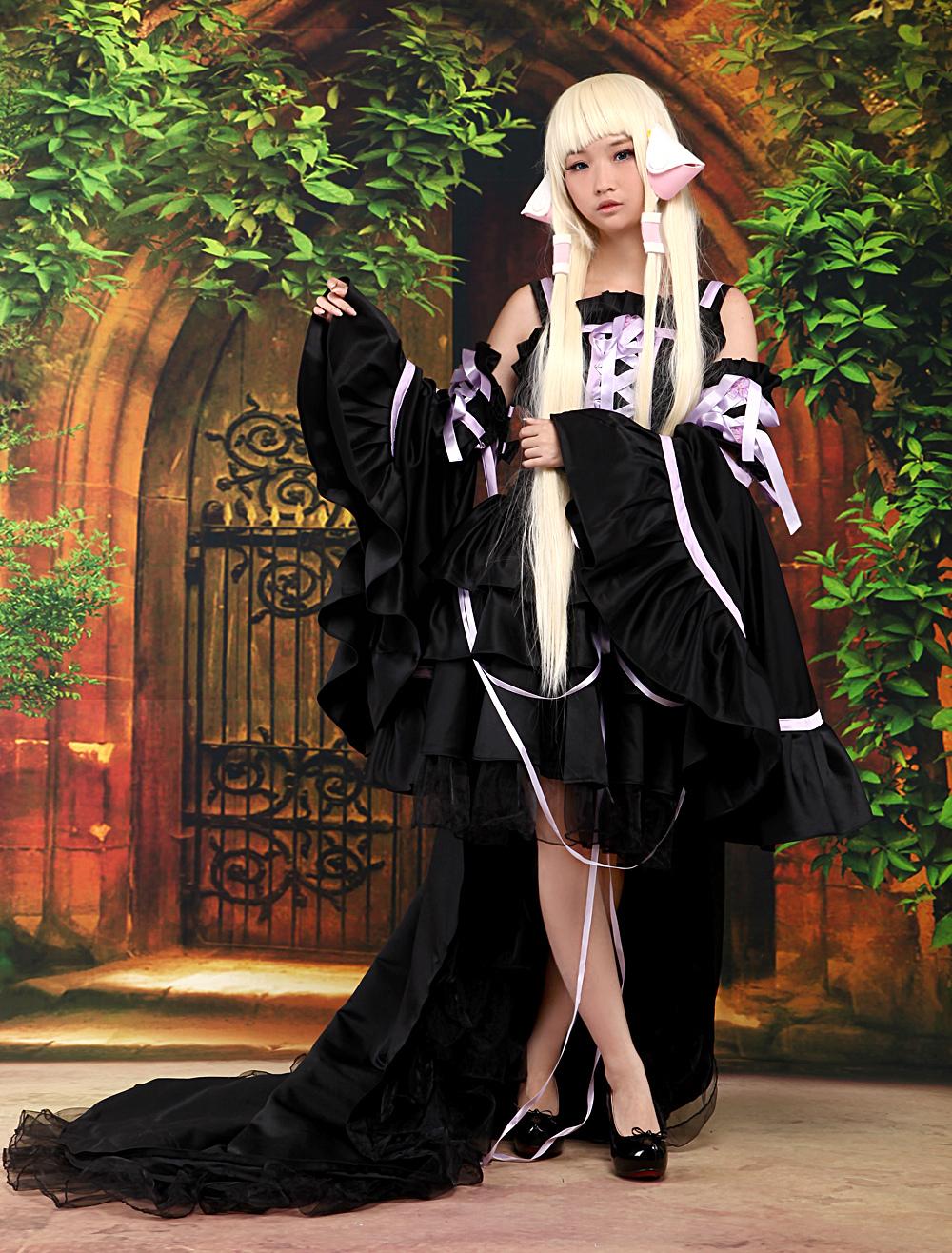 Chobits Chii Halloween Cosplay Costume Black Cute Lolita Dress Halloween