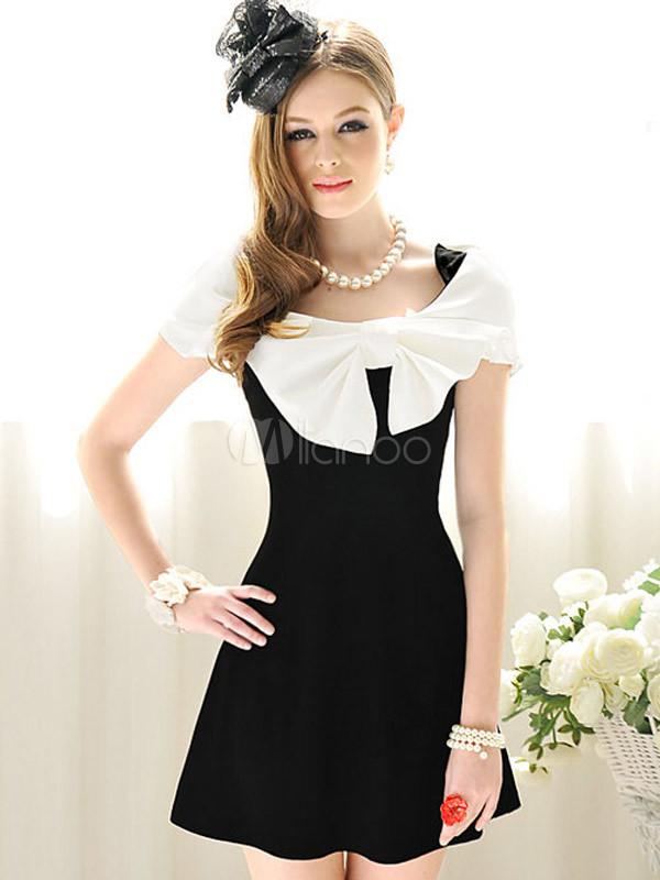 24394292b5df Abito corto elegante con grande fiocco bianco e nero in cotone-No.1 ...