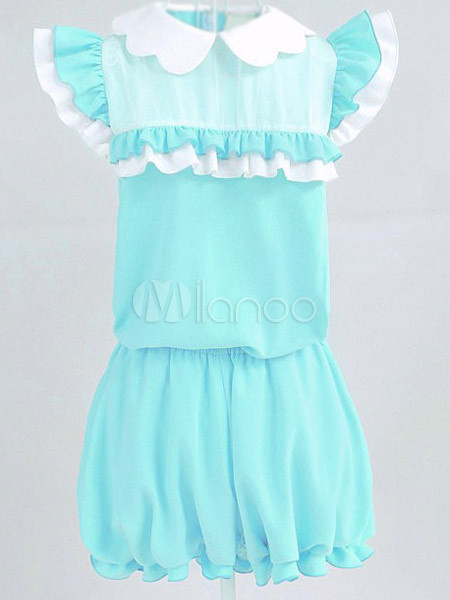 f40cc037a30c ... Cute Light Green Polyester Pleated Fashion Romper For Ladies -No.3