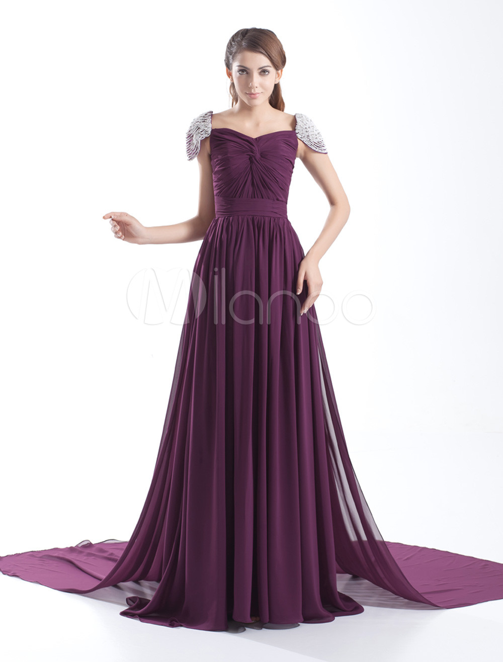 Grace Grape Chiffon Twisted Square Neck Women's Evening Dress