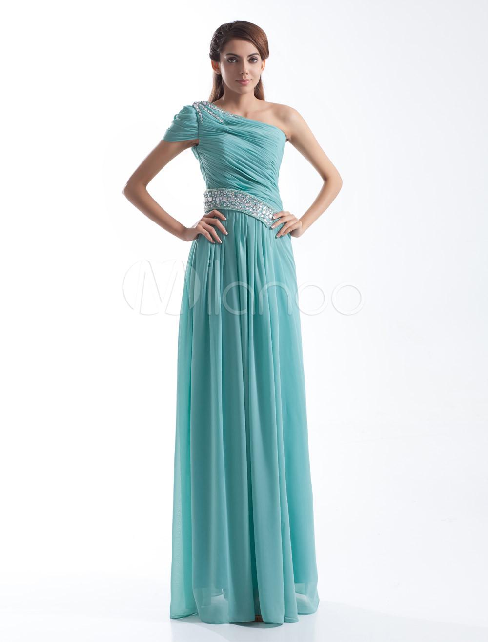 Chiffon Prom Dress Turquoise One Shoulder Formal Dress Rhinestones Beading Floor Length Evening Dress