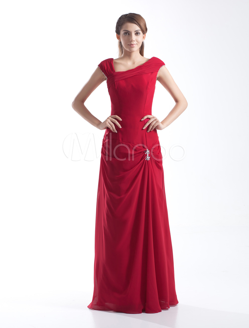 Red Cowl Neck Chiffon Floor-Length Bridesmaid Dress with Pleated