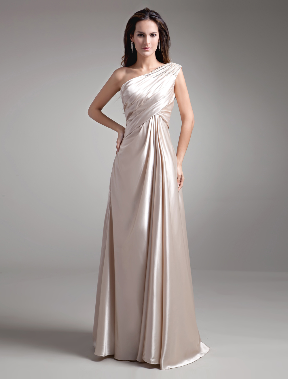 Champagne Draped Beading One-Shoulder Women's Evening Dress Wedding Guest Dress
