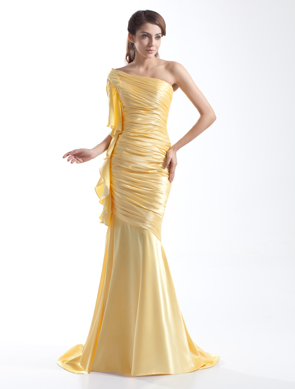Buy Daffodil Sheath Sweep One-Shoulder Evening Dress with Cascading Ruffle for $116.99 in Milanoo store