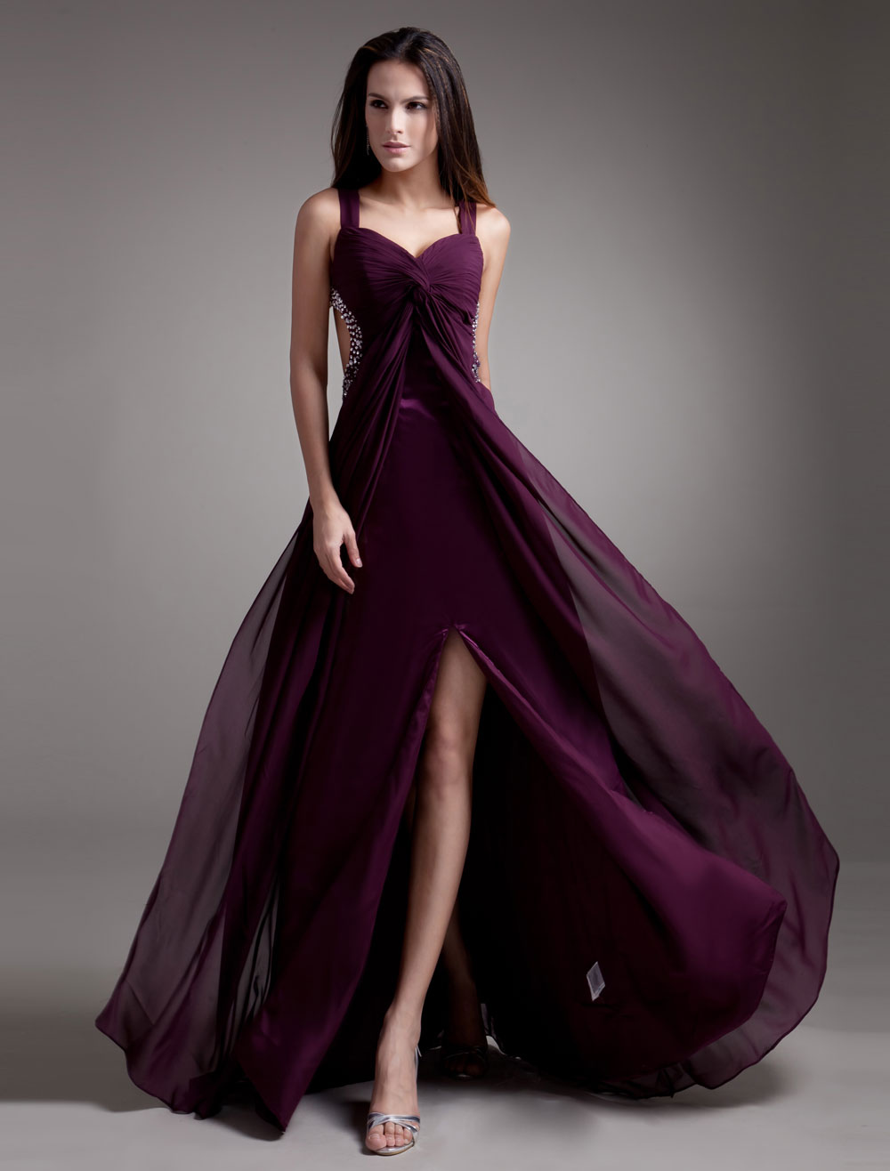 Grape split beaded chiffon prom dress for Milanoo abendkleider