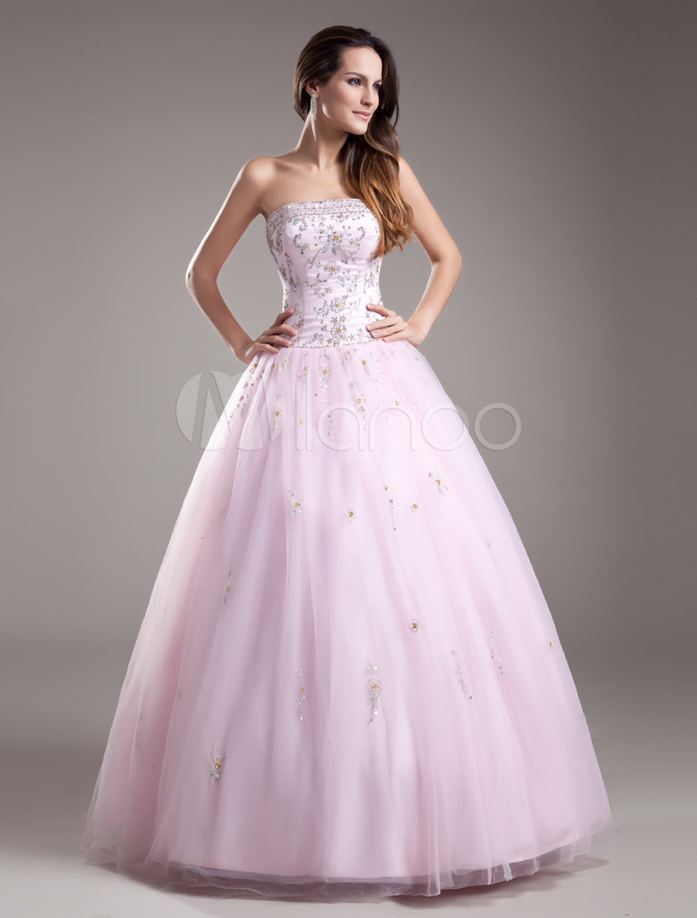 Charming Pink Beading Tulle Strapless Ball Gown