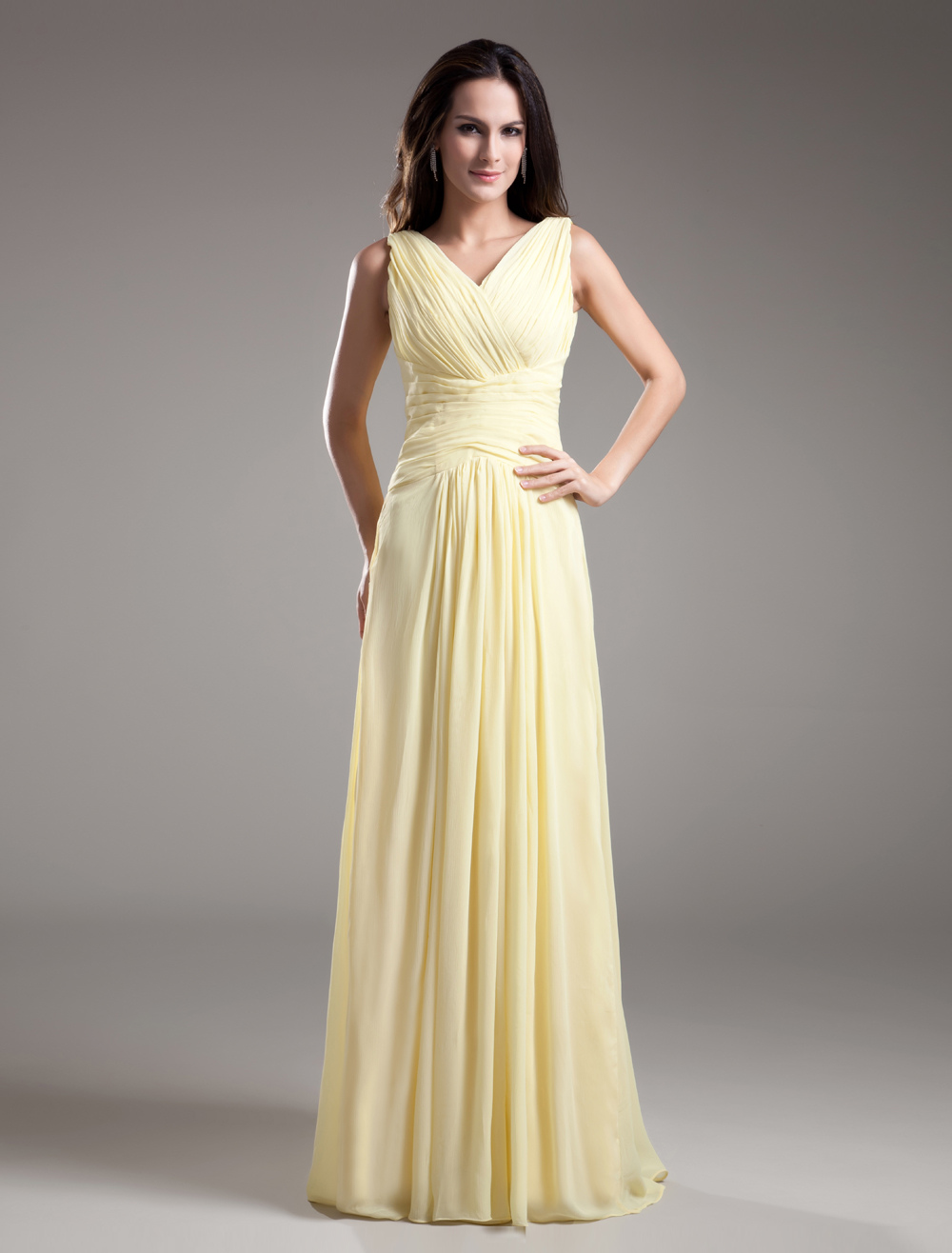 V-Neck Long Ruched Bridesmaid Dress