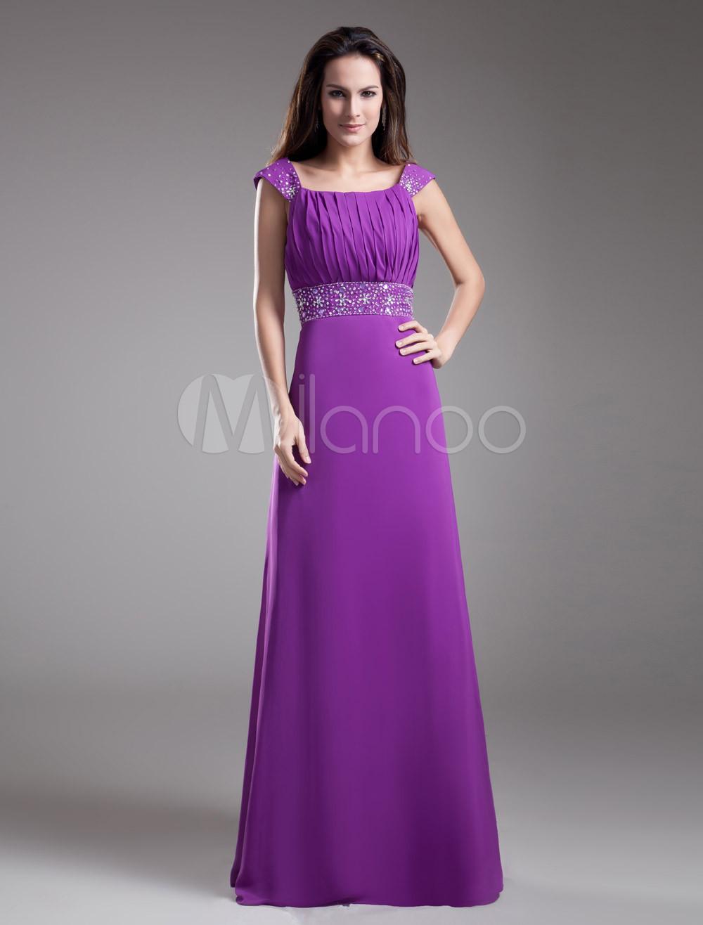 Vestido para la madre de novia de gasa de color de uva sin mangas ...