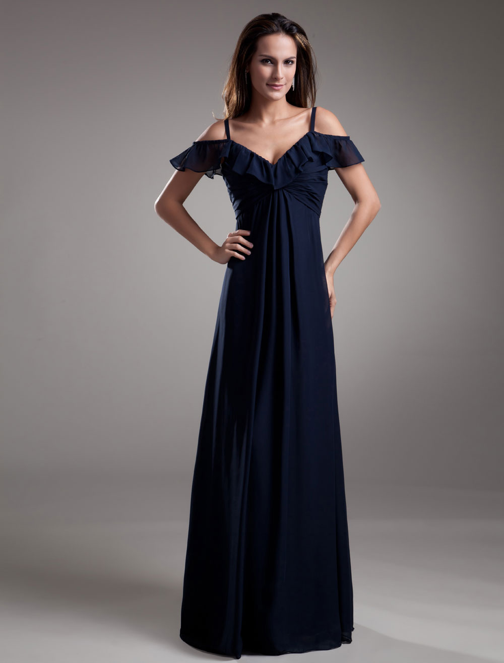 Buy Charming Dark Navy A-line Chiffon Straps Floor-Length Evening Dress with Cascading Ruffle for $112.49 in Milanoo store