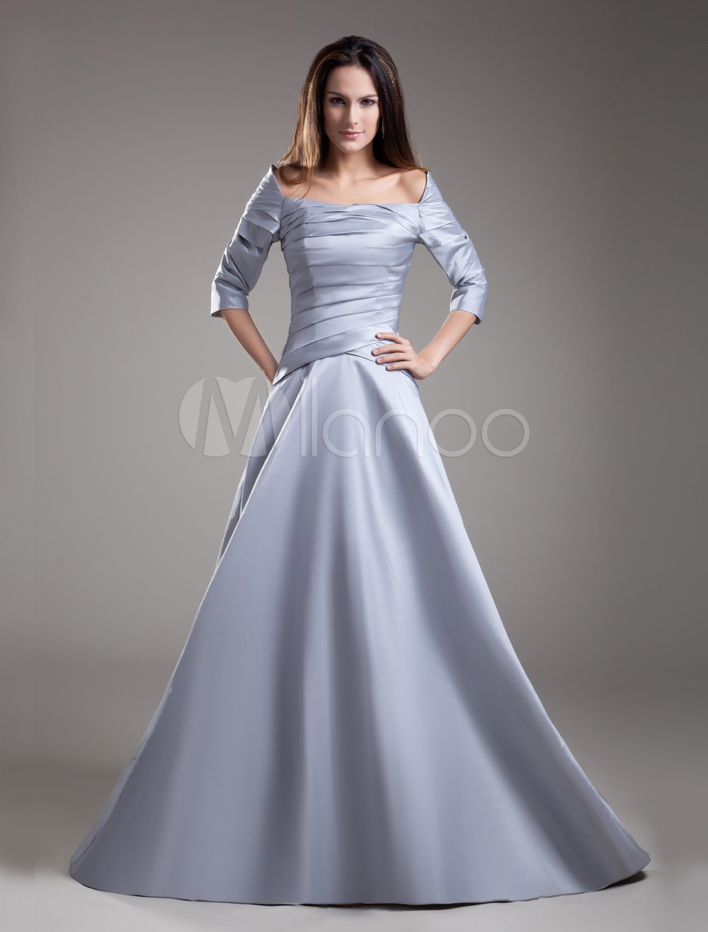Silver A-line 3/4 Length Sleeves Taffeta Bridal Mother Dress