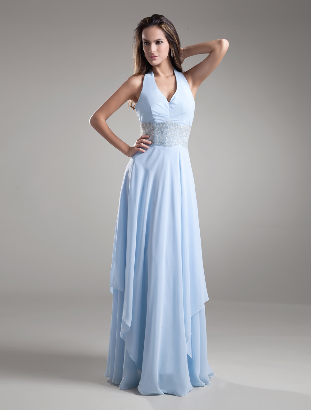 Buy Chiffon Evening Dress Halter Backless Baby Blue Formal Dress Floor Length Beading Waist Long Bridesmaid Dress for $133.19 in Milanoo store