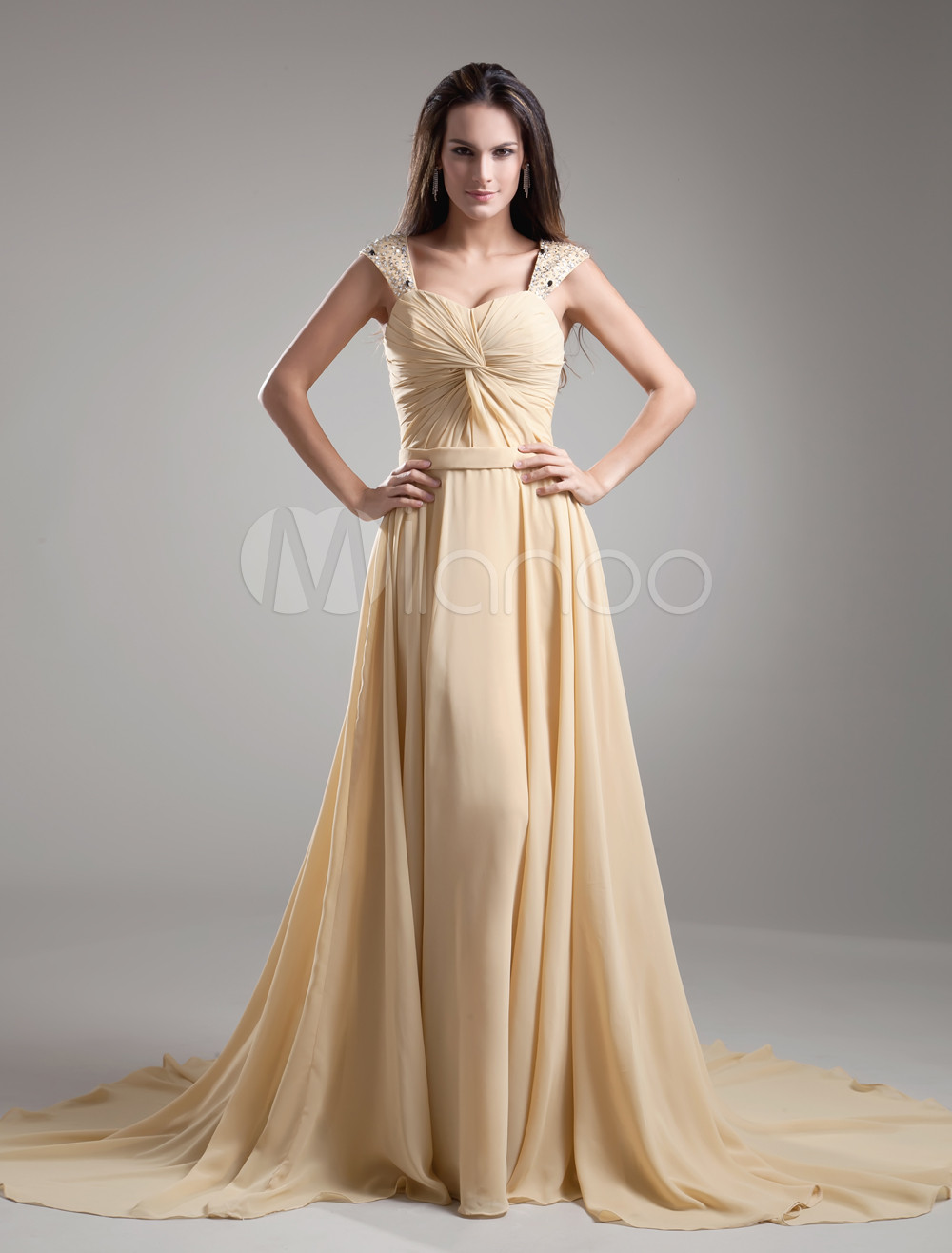 Champagne Chiffon Twisted Off The Shoulder Women S Evening