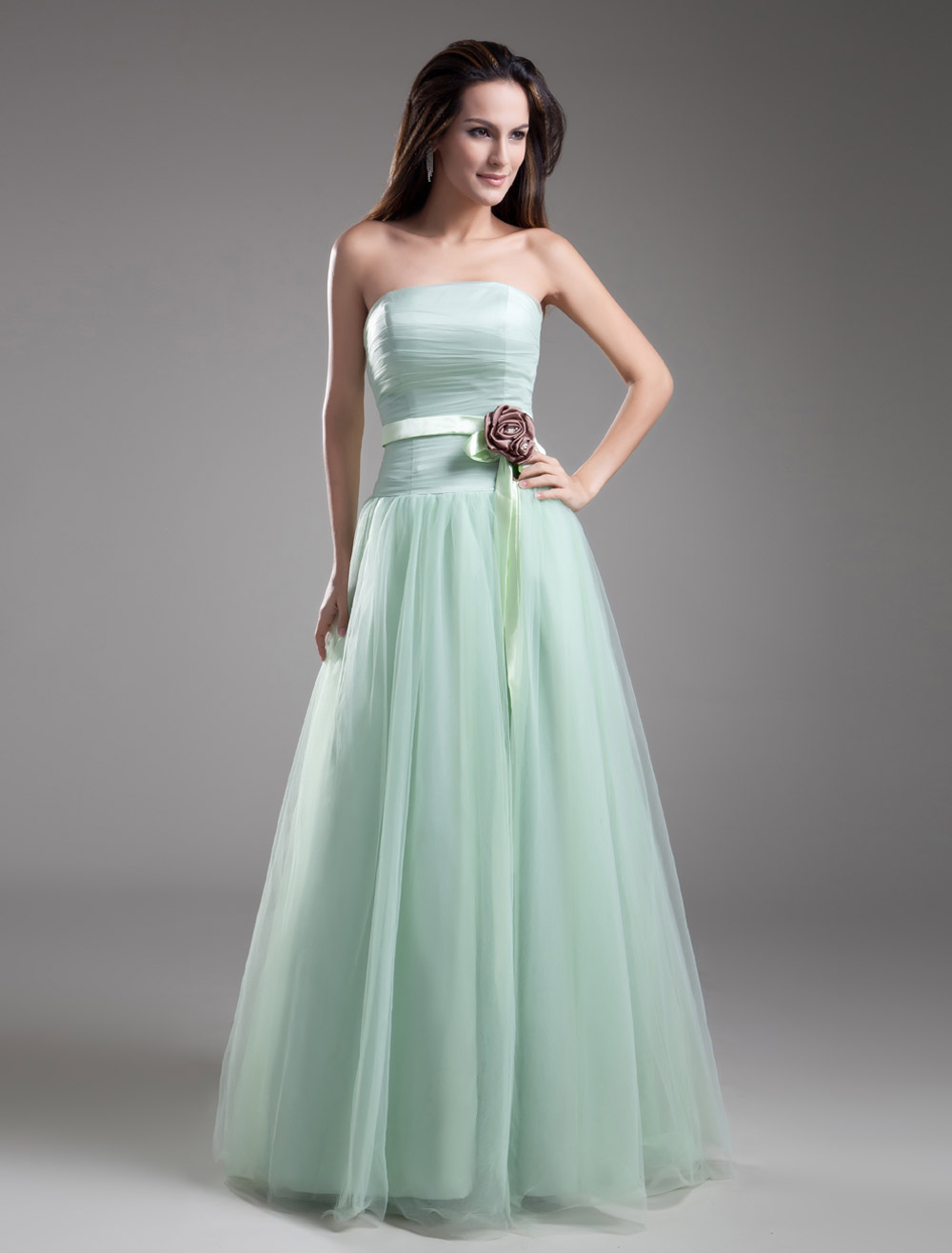 Strapless Evening Dress Pastel Green Formal Dress Waist Flower Floor ...