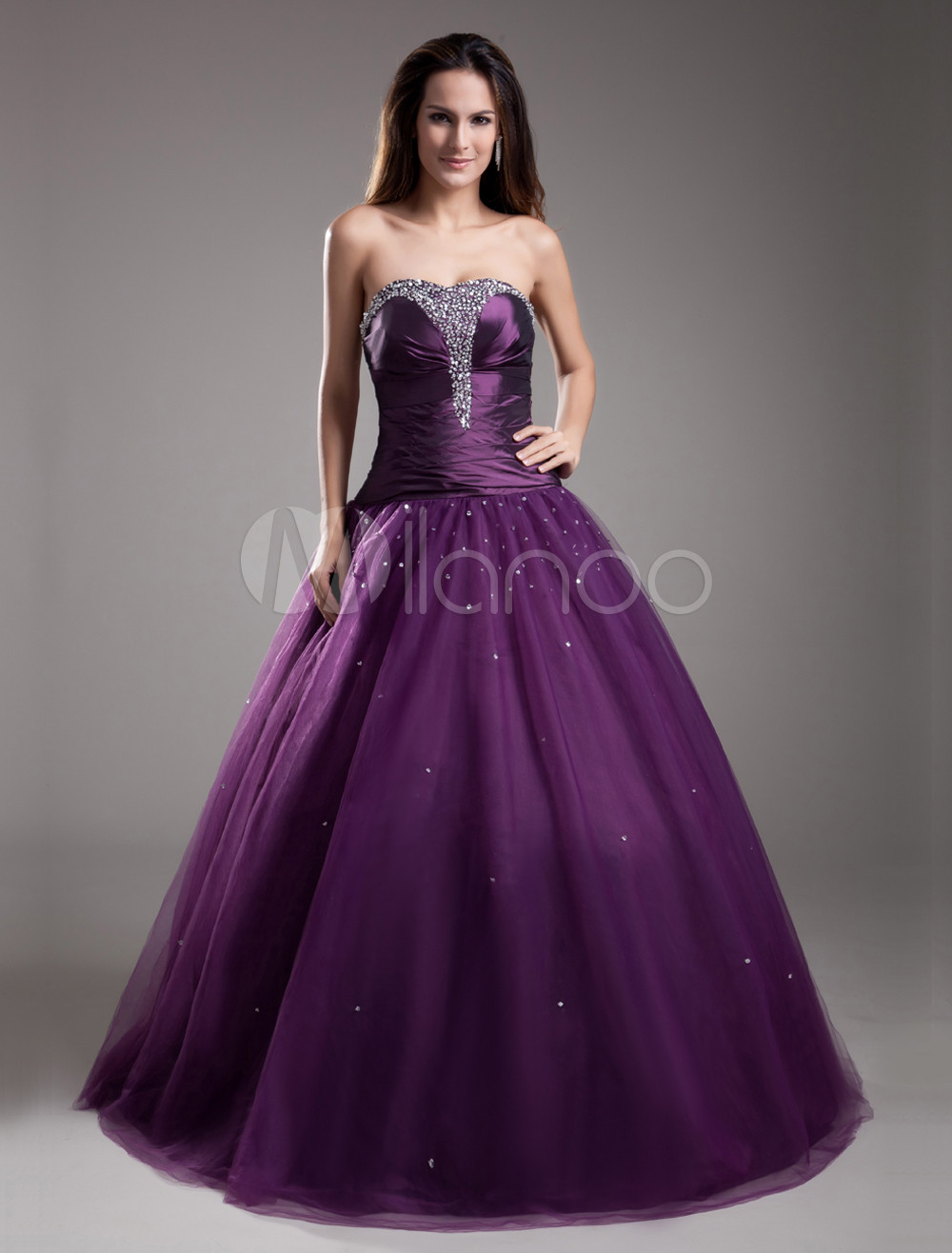 Formal Grape Beading Tulle Sweetheart Neck Ball Gown - Milanoo.com
