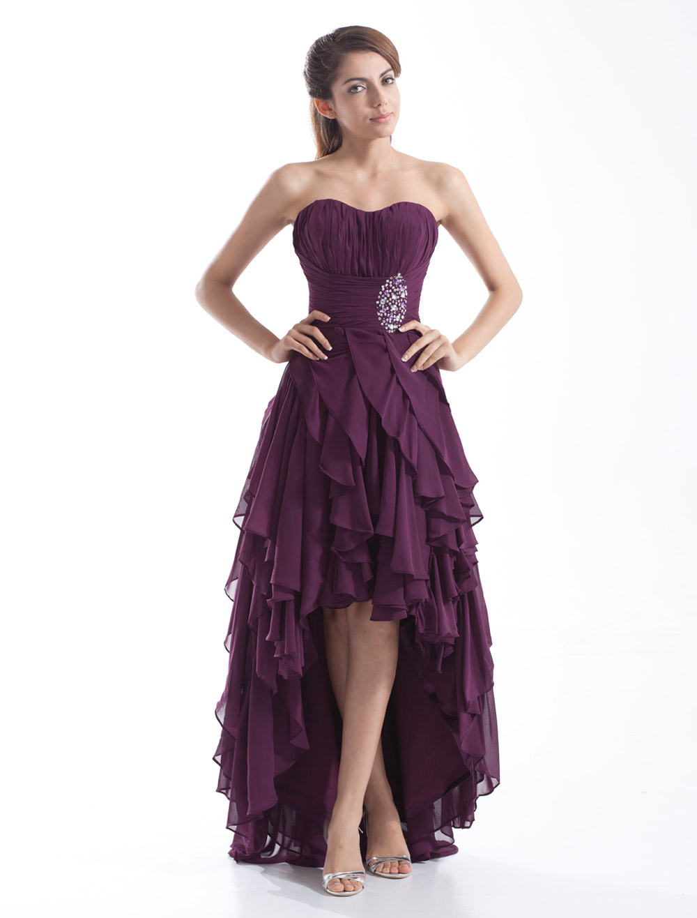 Grape Prom Dress High-Low Strapless Backless Beaded Chiffon Dress