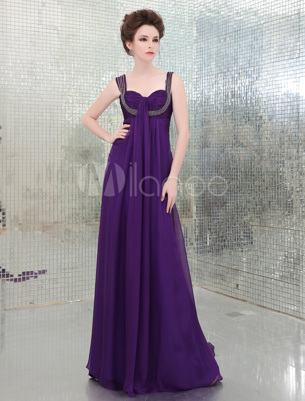 Charming Lilac A-line Sweetheart Neck Beading Prom Dress