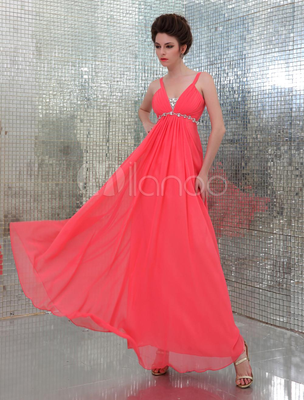 Watermelon Straps Neck A-line Beading Rhinestone Chiffon Evening Dress