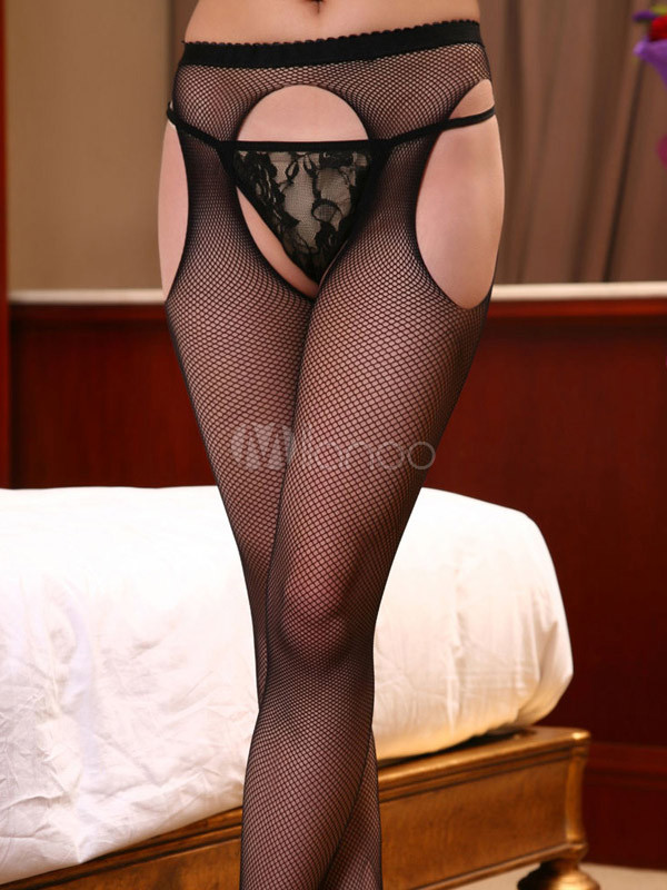 Black Solid Color Acrylic Cut Out Fishnet Pantyhose