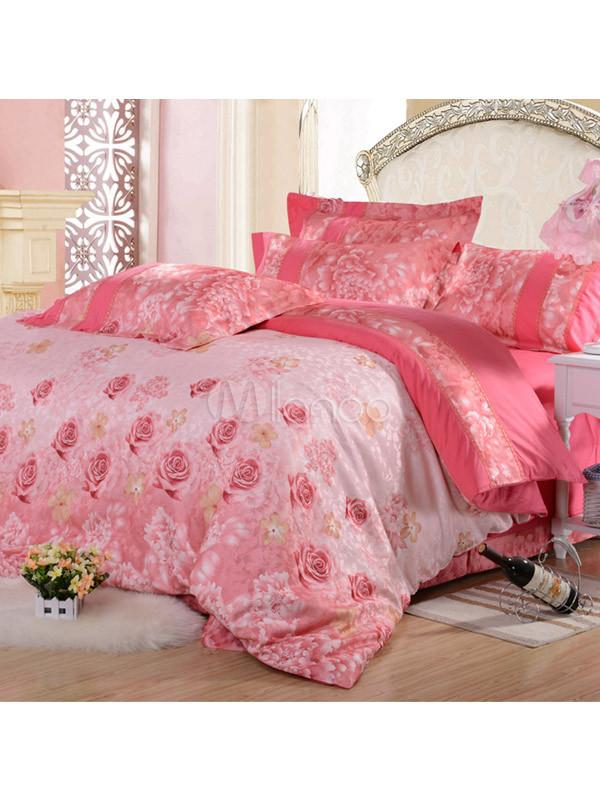 wassermelone floral print baumwolle 4tlg bettw sche set. Black Bedroom Furniture Sets. Home Design Ideas