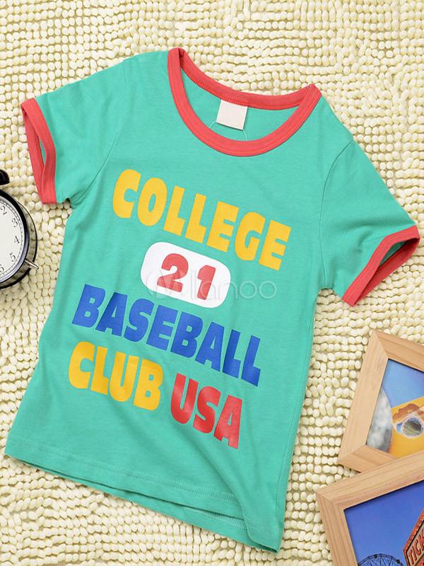 Cool Words Print Cotton Crewneck Short Sleeves Boy's T-shirt