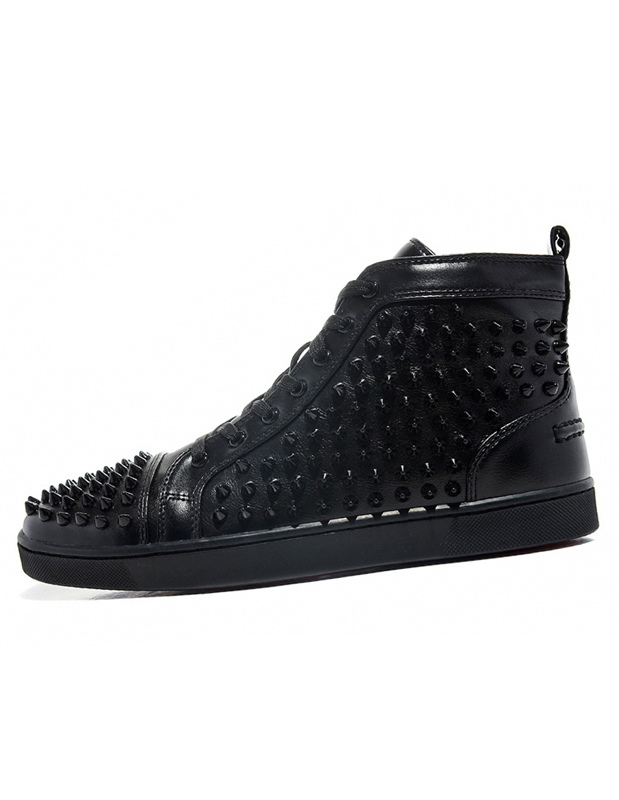 Black Men Sneakers 2018 High Top Skate Shoes Round Toe Lace Up Spike Shoes