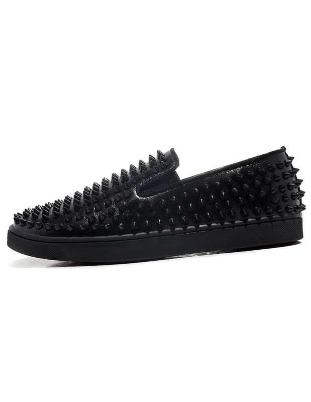 Platform Men's Black Loafers Slip On Spike Shoes