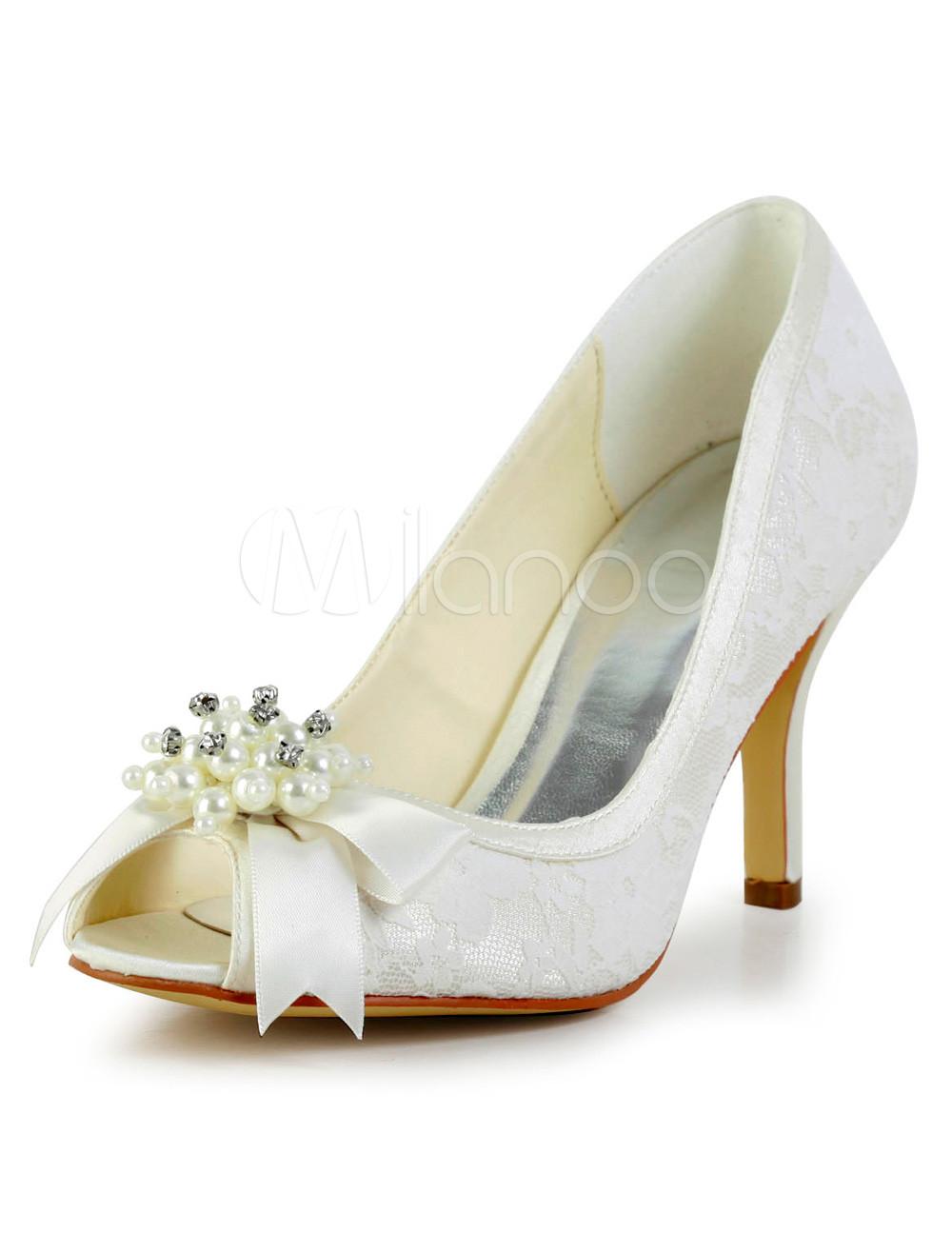 Great Ecru White Peep Toe Stiletto Heel Silk And Satin Shoes for Bride