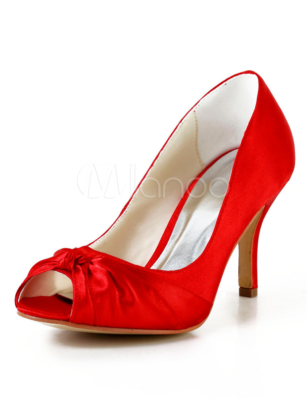 Buy Red Peep Toe Stiletto Heel Silk And Satin Women's Evening Shoes for $52.24 in Milanoo store