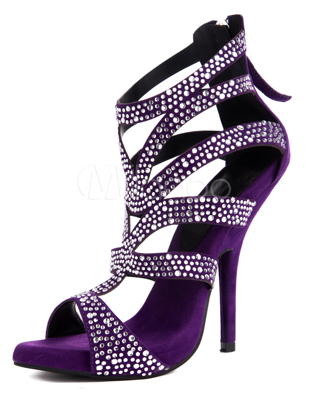 Purple Heels With Rhinestones