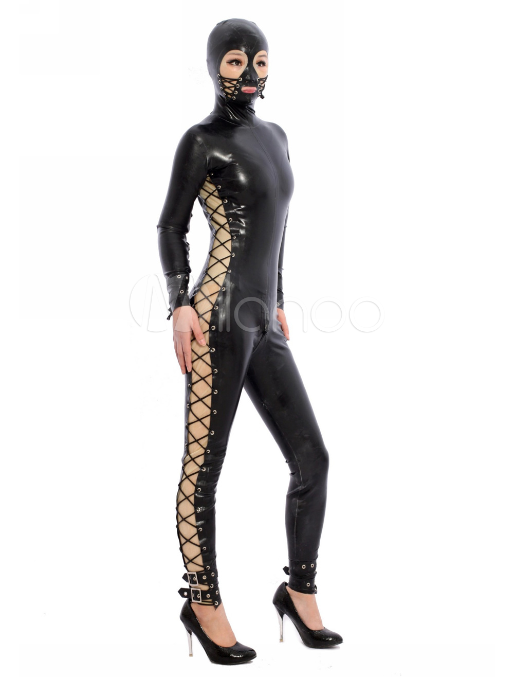 Halloween Black Open Eyes Unisex Latex Bodysuit Halloween