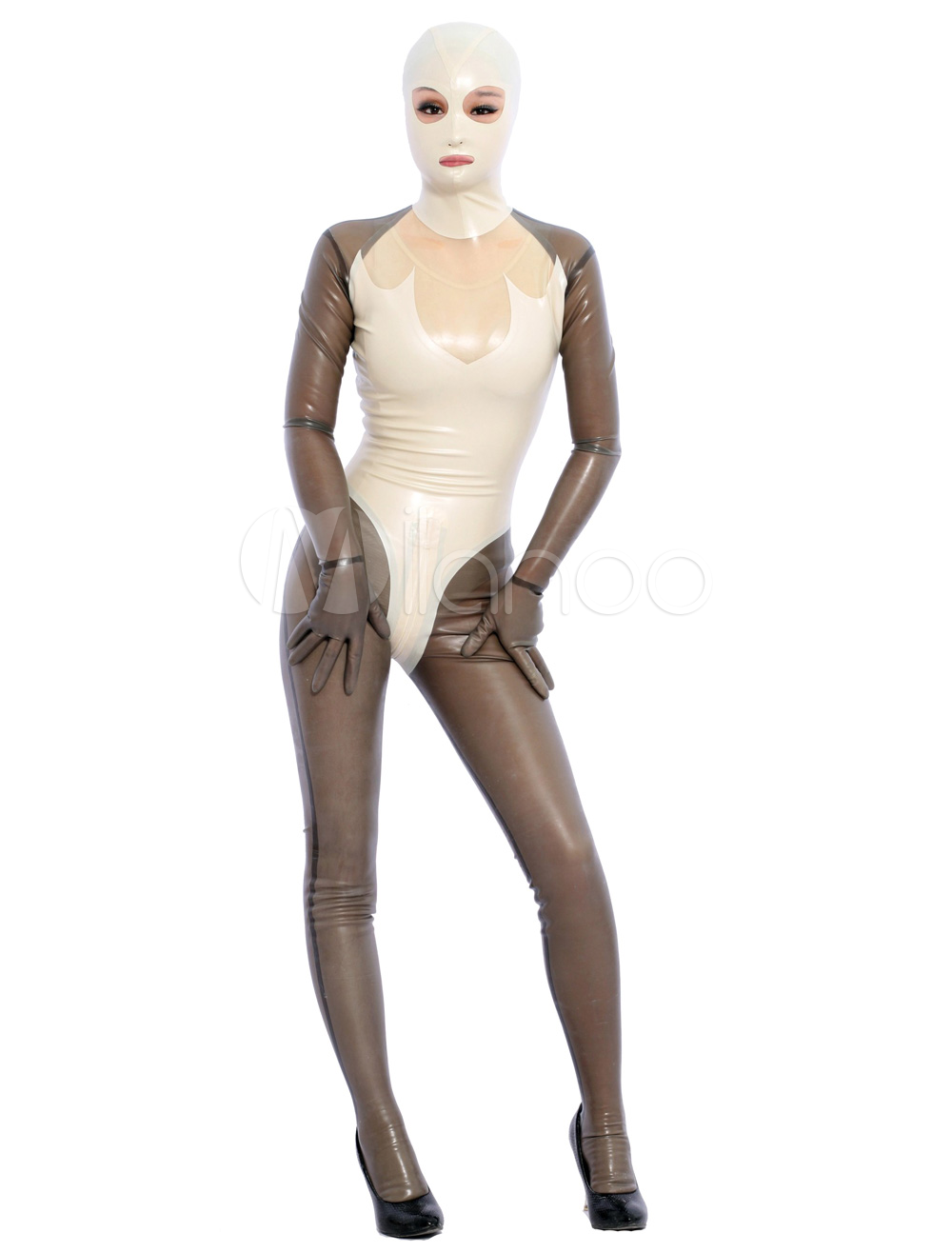 Halloween Cool Multi Color Open Eyes Unisex Latex Bodysuit Halloween