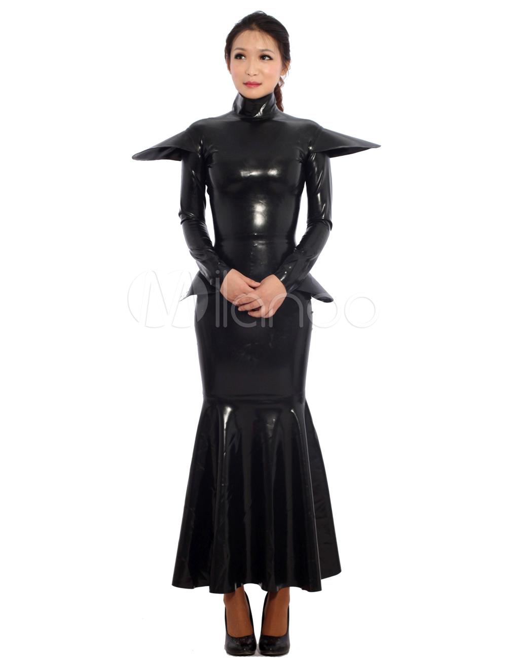 Halloween Black Unisex Tunic Unique Latex Dress Halloween