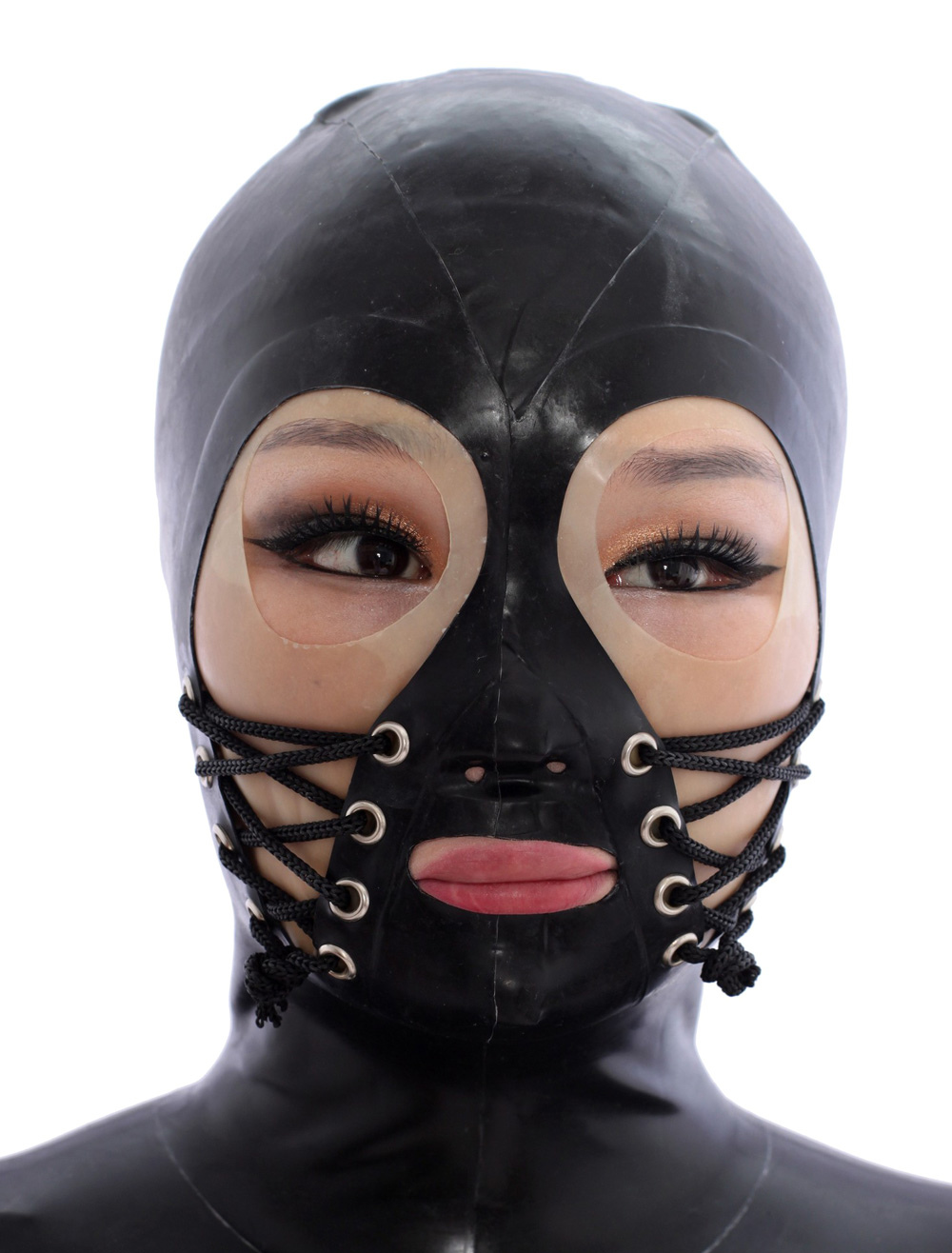Halloween Black Open Eyes Bandage Latex Hoods Halloween