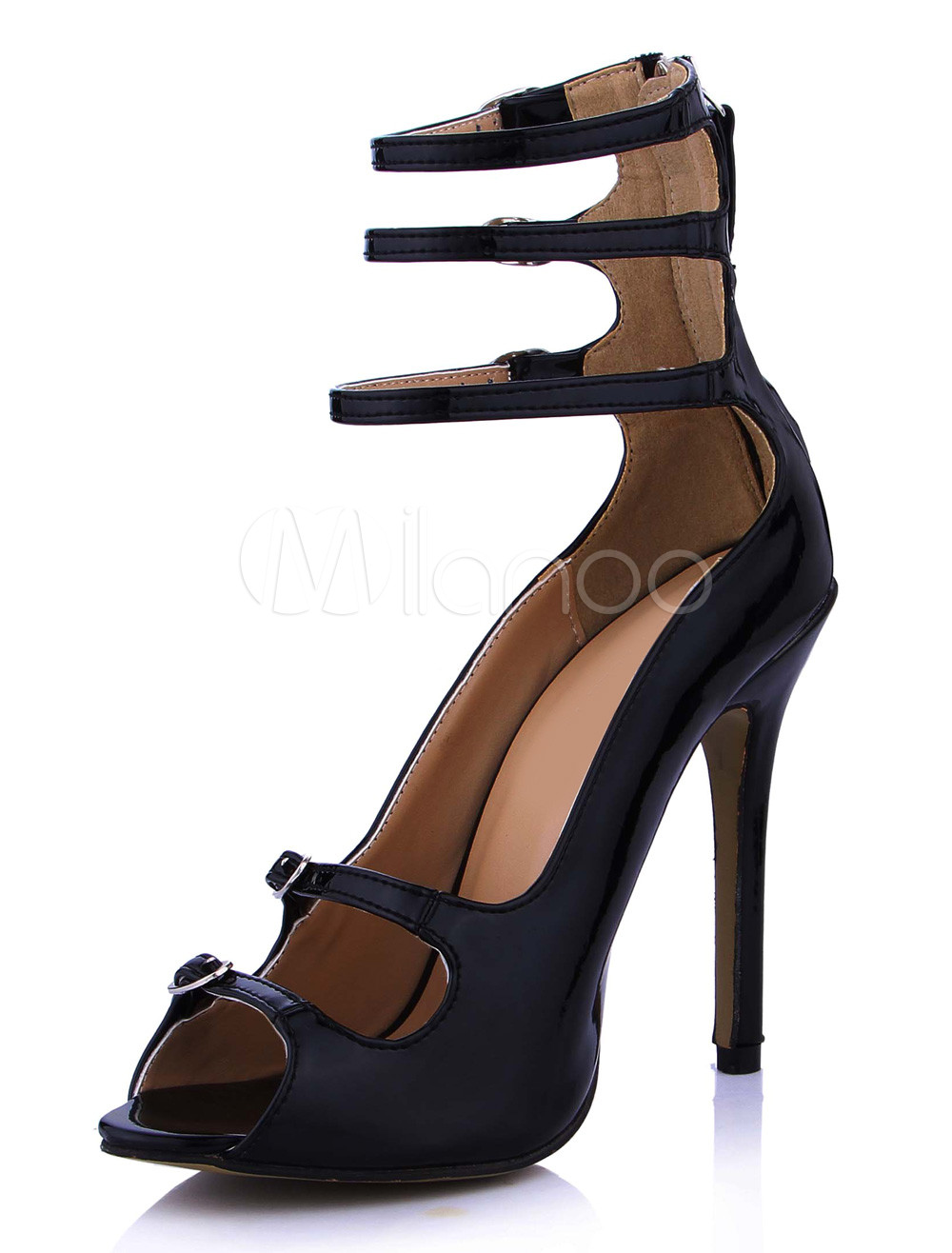 Buy Enticing Black Stiletto Heel Patent PU Upper Dress Sandals For Ladies for $67.49 in Milanoo store