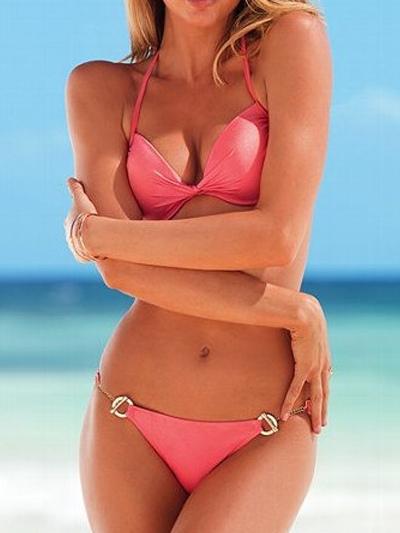 Women Bikini Swimsuit Sexy Halter Chains Pink Beach Bathing Suit