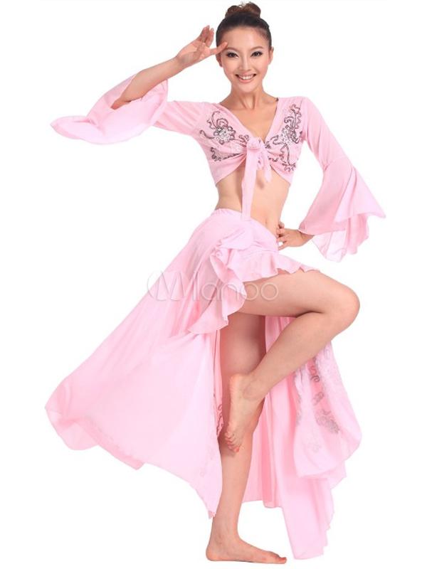 Hermoso largo mangas trajes de danza del vientre de la mujer de tul ...