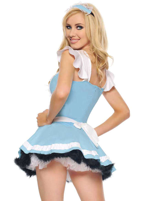 6605713365d9 ... Light Sky Blue Halloween Two Tone Matte Satin Sexy Woman's French Maid  Costume Halloween