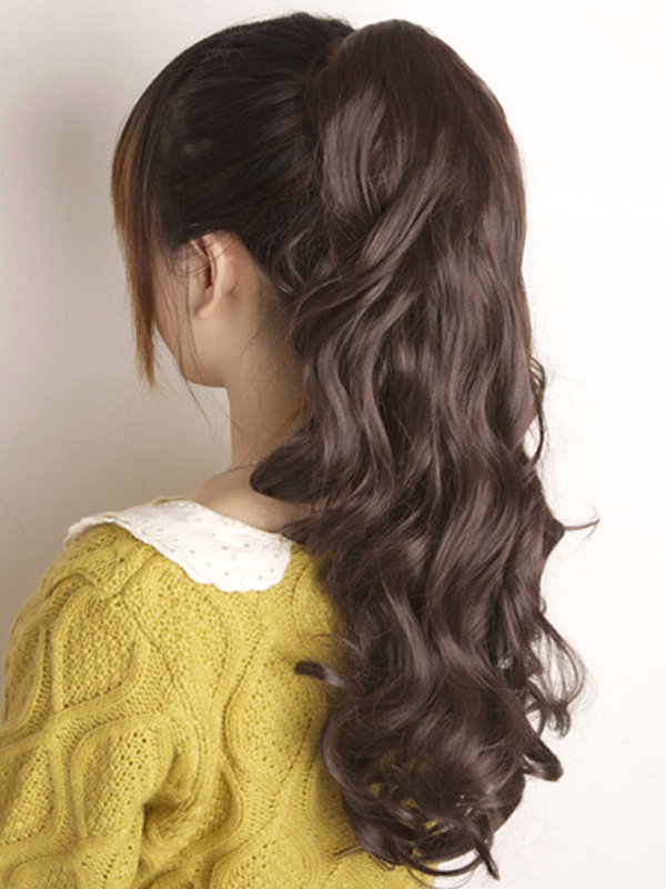 Black Hair Extension Full Volume Curl Pony Tail Long Brown Hair Slice For Women
