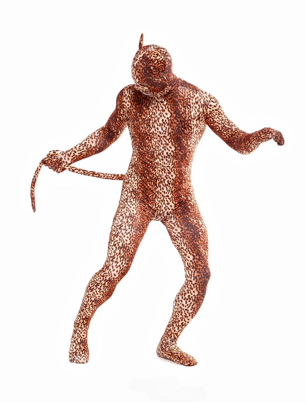 Halloween Chic Light Brown Lycra Spandex Leopard Open Eyes Unisex Lycra Animal Zentai Suits Halloween