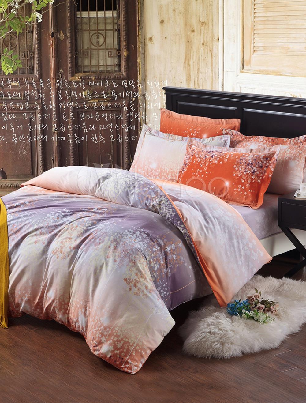 Oriental Multi Color Floral Cotton 4 Piece Print Bedding