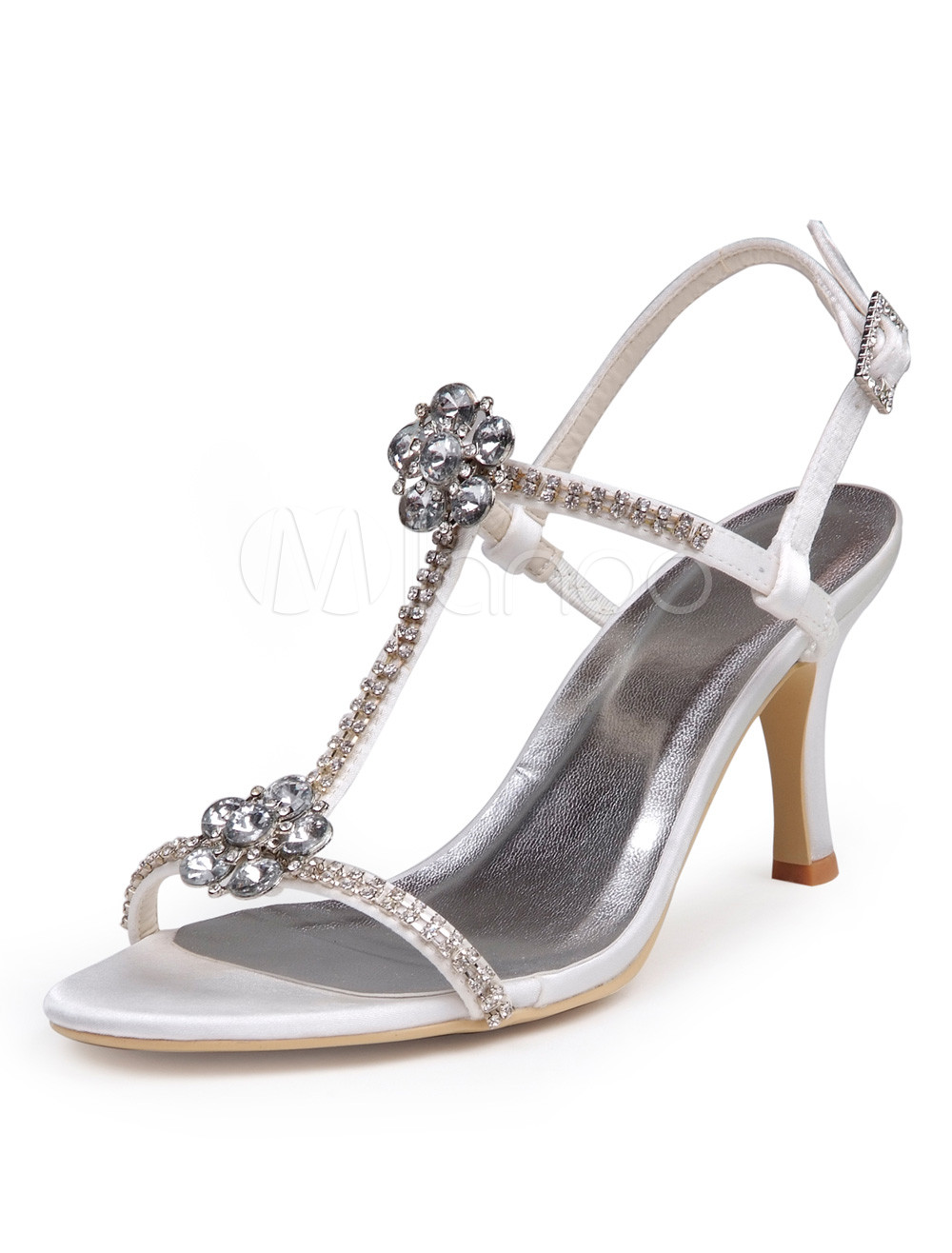 Buy White Rhinestone Peep Toe Silk And Satin Gorgeous Bridal Shoes for $62.99 in Milanoo store