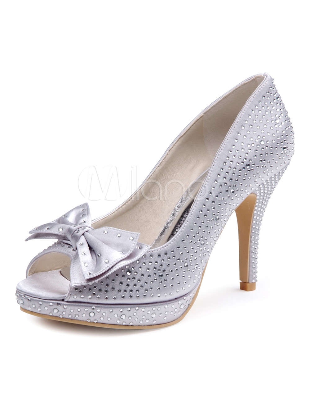 Buy Pretty Gray Silk And Satin Rhinestone Peep Toe Women's Evening Shoes for $73.94 in Milanoo store