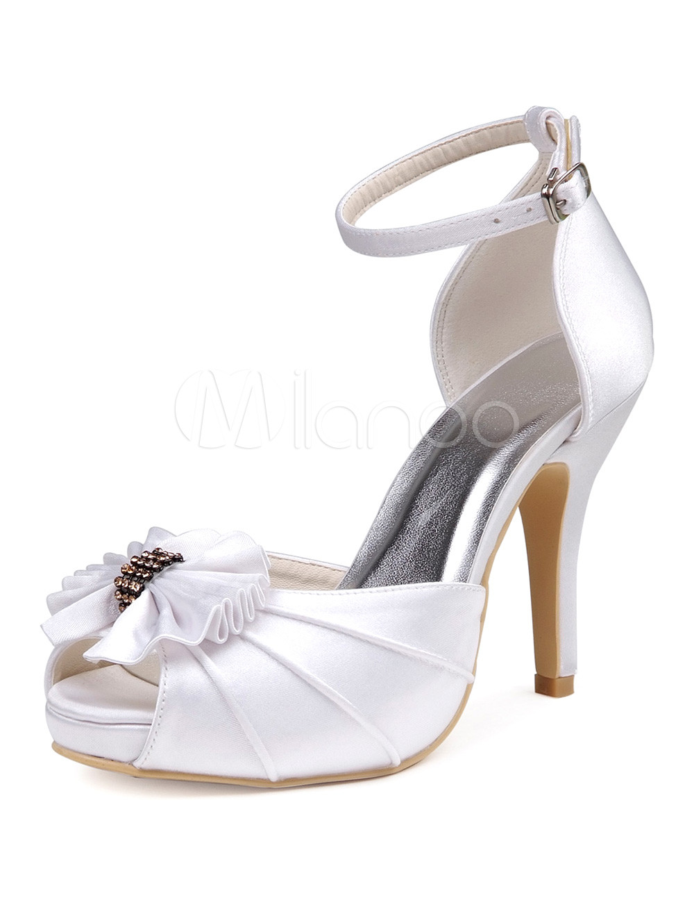 Buy White Ankle Strap Peep Toe Silk And Satin Gorgeous Shoes for Bride for $69.59 in Milanoo store
