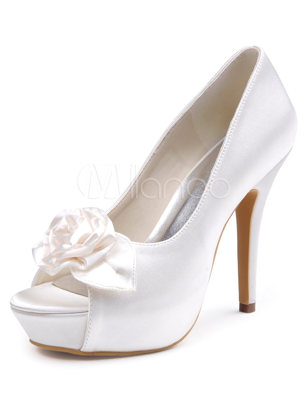 Buy Grace White Silk And Satin Peep Toe Women's Evening Shoes for $67.49 in Milanoo store
