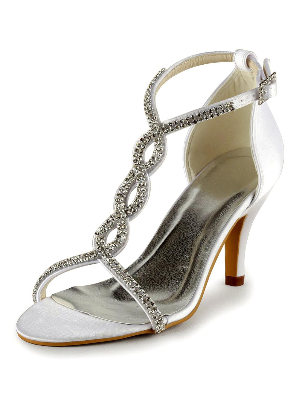 Chic Ivory PU Leather Rhinestone Open Toe Bridal Shoes