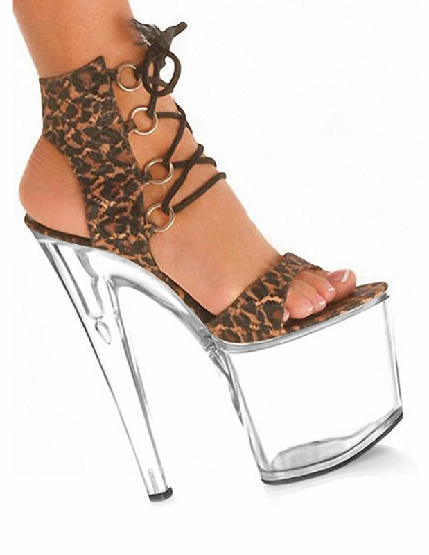 Buy Brown Leopard Print Open Toe Micro suede Upper Sexy Sandals for $59.49 in Milanoo store