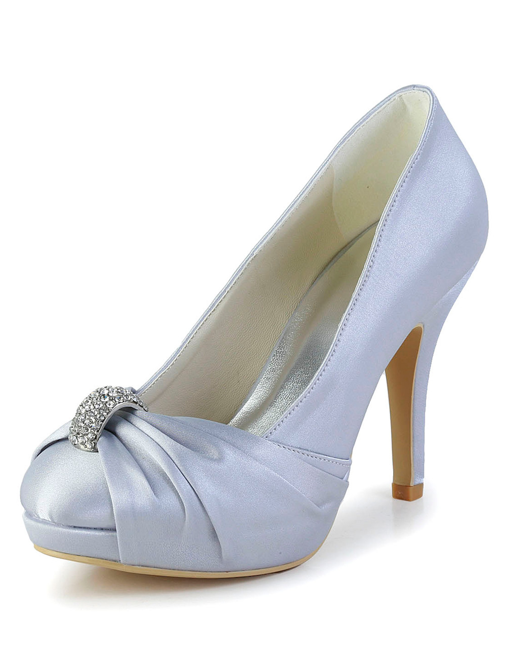 Buy Silver Rhinestone Round Toe Silk And Satin Grace Woman's Evening Shoes for $59.49 in Milanoo store