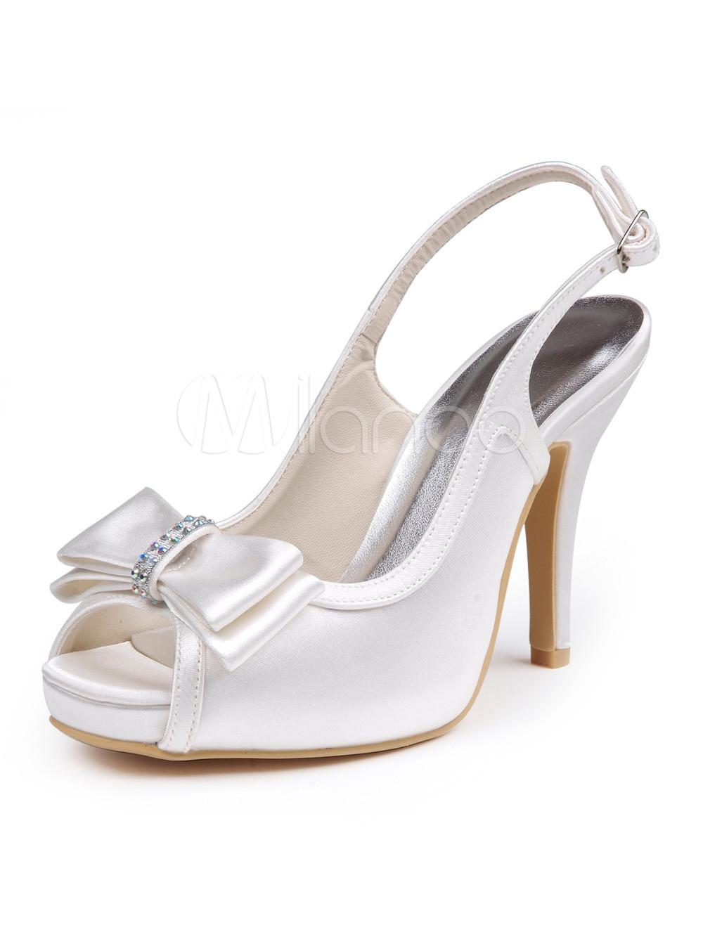 White Bow Peep Toe Silk And Satin Slingback Bridal Shoes